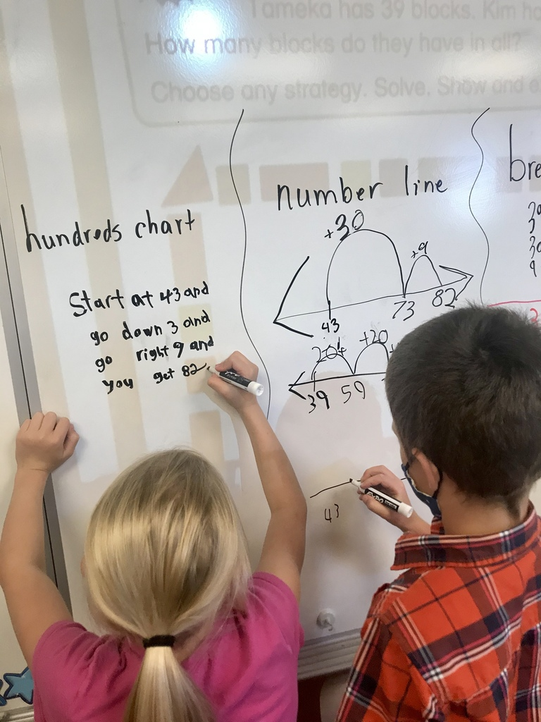 second graders showing off their math skills
