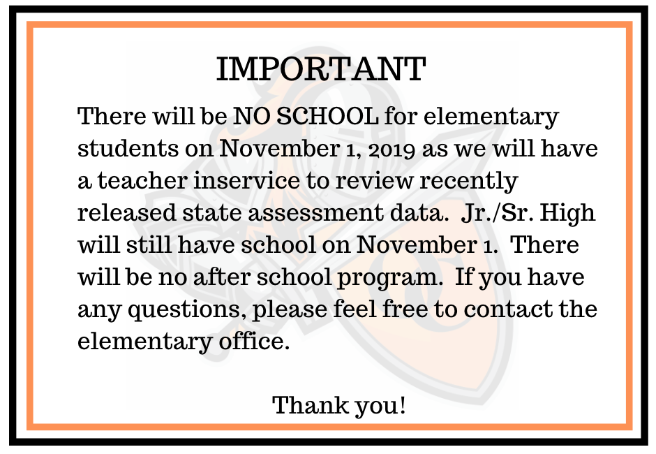 Nov. 1 - No School Elem.