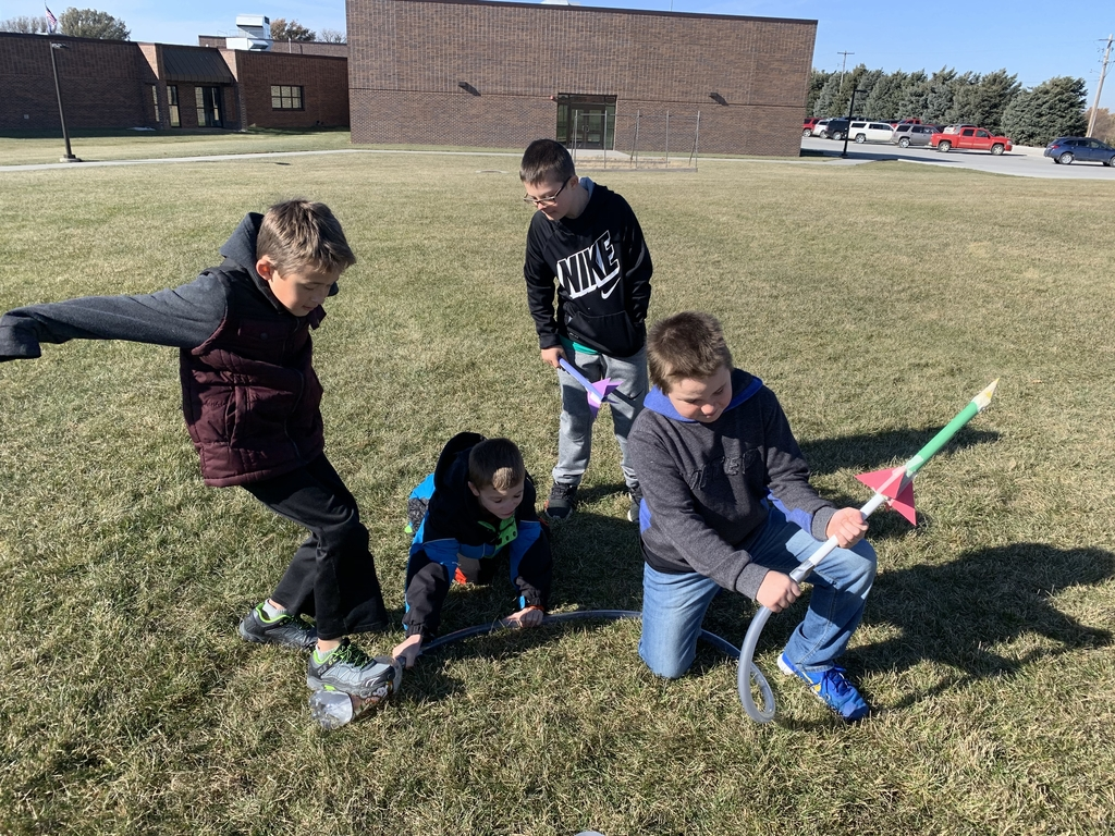 Mr. Meyer's 4th grade science class using stomp rockets they created to demonstrate energy transfer.