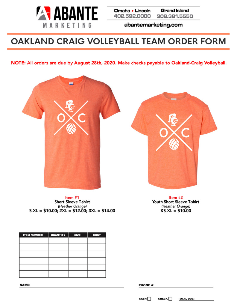 Check out this season's O-C Volleyball Shirt!  Go Knights!